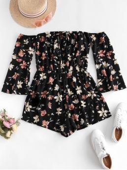 Summer No Tie Floral Elastic 3/4 Flare Off Regular Fashion Daily and Vacation Tie Collar Off Shoulder Flare Sleeve Floral Romper