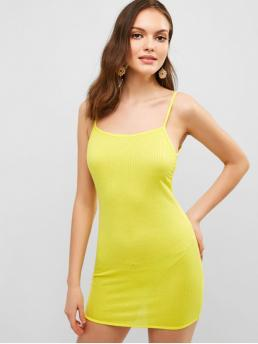 No Summer Solid Backless Sleeveless Spaghetti Mini Sheath Cocktail Casual Solid Color Backless Cami Dress