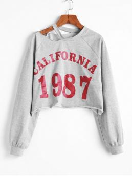 Autumn and Spring Cut Letter Elastic Full Short Raglan Crew Sweatshirt California 1987 Graphic Cut Out Shoulder Cropped Sweatshirt