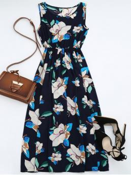 Fall and Spring and Summer No Floral Sleeveless Scoop Ankle-Length A High Waisted Sleeveless Floral Maxi Dress