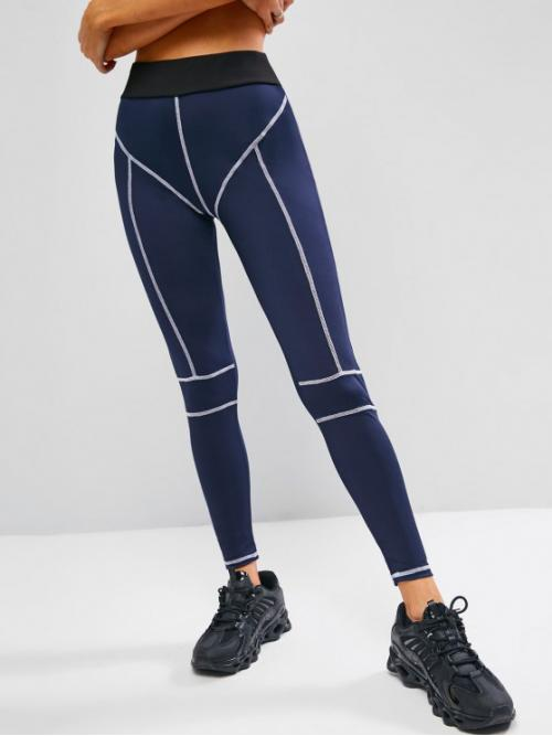 Ladies Deep Blue Others 8 Length Active Topstitch Contrast Waisted Gym Leggings