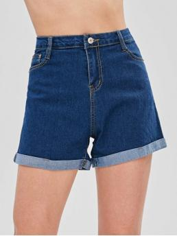 Solid Flat Zipper High Regular Fashion Turn Up Cuffs High Waisted Denim Shorts