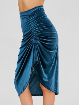 No Fall and Winter Zipper Ruched Solid Asymmetrical Mid-Calf Daily Fashion Velvet Ruched Asymmetrical Skirt