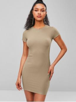 No Summer Solid Short Round Mini Bodycon Club and Night Brief Ribbed Short Bodycon Dress