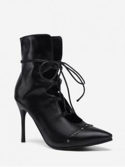 Trendy PU Rubber Rivet Lace-Up Others Stiletto Pointed Ankle Spring/Fall and Summer Fashion For Pointed Toe Lace Up Short Boots with Studs