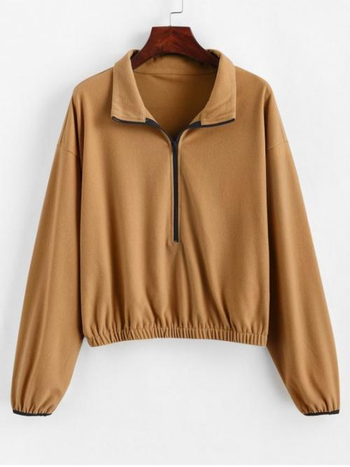 Autumn Zipper Others Full Regular Drop Sweatshirt Half Zipper Drop Shoulder Elastic Hem Sweatshirt