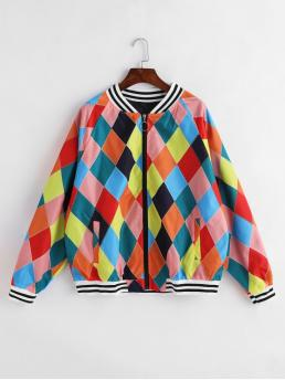 Autumn and Winter Pockets Geometric Zipper Stand-Up Raglan Full Regular Wide-waisted Fashion Jackets Daily and Going Geometric Argyle Print Pull Ring Zip Raglan Sleeve Jacket