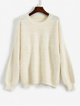 Autumn Solid Elastic Full Drop Crew Long Loose Casual Daily Pullovers Loose Fit Drop Shoulder Sweater