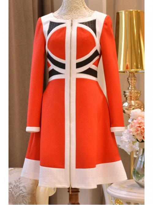Fall and Spring No Patchwork 3/4 Round Mini A-Line Cute Color Block High Waisted Dress