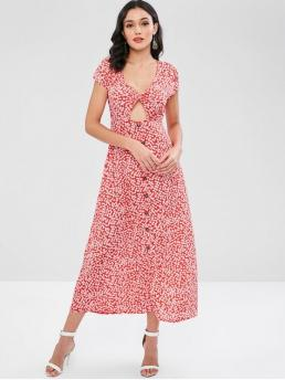 No Spring and Summer Floral Short Plunging Ankle-Length A-Line Vacation Fashion Twist Front Cut Out Floral Print Maxi Dress