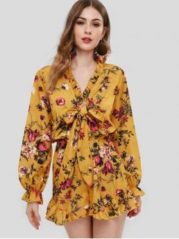 Fall and Spring No Ruffles Floral and Print Nonelastic Long Flare Ruffled Short Regular Fashion Casual Floral Print Long Sleeve Ruffles Romper