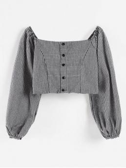 Autumn and Spring and Summer Gingham Full Short Square Fashion Daily and Home and Outdoor Square Neck Gingham Crop Blouse