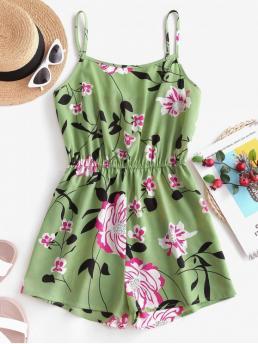 Summer No Floral Nonelastic Sleeveless Spaghetti Mini Regular Fashion Daily and Vacation Elastic Waist Floral Cami Romper