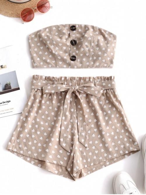 Yes Summer Belted and Button Heart Flat Elastic High Sleeveless Strapless Regular Casual Casual and Going Buttons Heart Print Belted Shorts Set