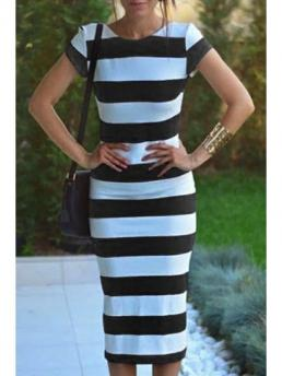 Summer No Striped Short Round Mid-Calf Sheath Casual Striped Short Sleeve Backless Pencil Dress