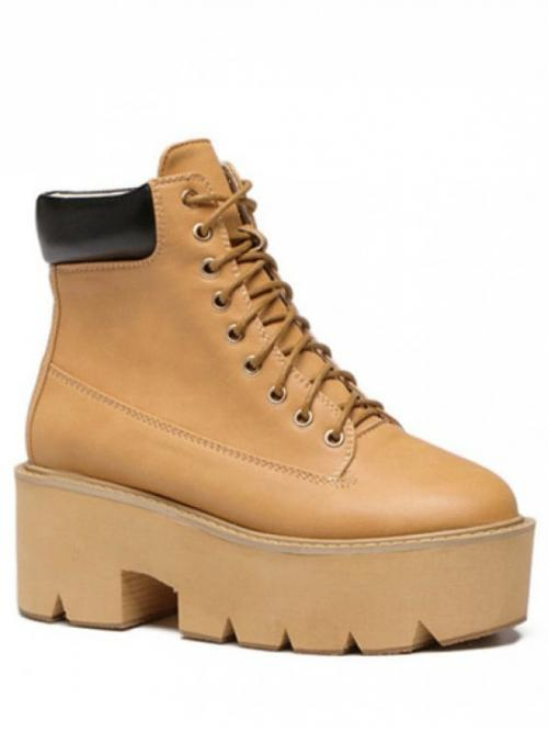 Spring/Fall PU 7CM Others Lace-Up Chunky Round Ankle Fashion For Platform Tie Up Round Toe Short Boots