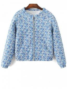 No Fall and Spring and Winter Pattern Floral Round Full Wide-waisted Padded Casual Small Floral Quilted Jacket