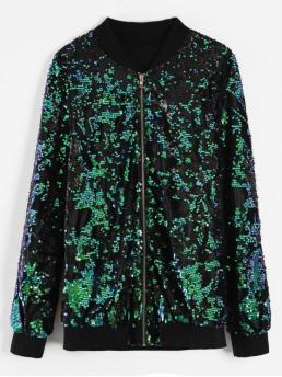 Autumn and Winter Sequined Others Zipper Stand-Up Full Regular Wide-waisted Fashion Jackets Daily and Going Sequins Zip Up Bomber Jacket