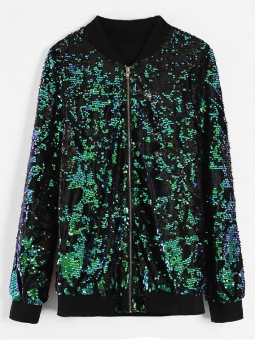 Autumn and Winter Sequined Others Zipper Stand-Up Full Regular Wide-waisted Fashion Jackets Daily and Outdoor Sequins Zip Up Bomber Jacket