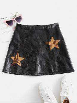 Fall Zipper Star A-Line Mini Daily Fashion Star Pattern Mini Faux Leather Skirt