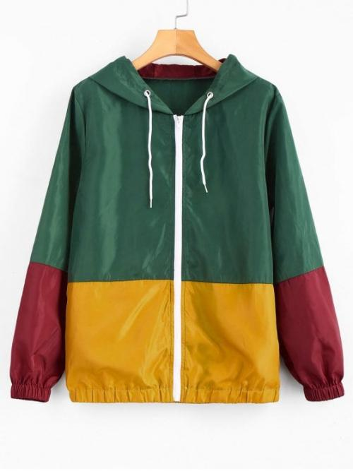 No Autumn and Spring Pockets Patchwork Hooded Full Regular Wide-waisted Fashion Jackets Daily and Going Hooded Windbreaker Color Block Jacket