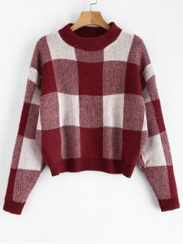Autumn and Spring and Winter Elastic Full Crew Regular Loose Fashion Pullovers Plaid Jacquard Knit Sweater