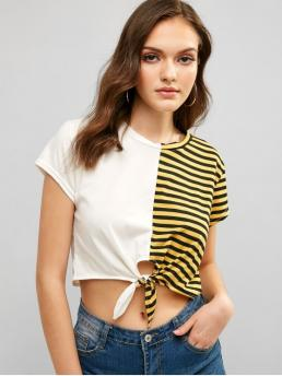 Summer Striped Tie Short Round Casual Striped Contrast Knotted Hem Crop Tee