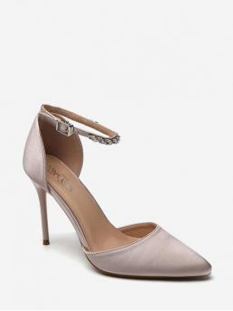 Spring/Fall and Summer Satin Rubber Pointed Closed Stiletto Ankle Daily Trendy Pumps Ankle Strap Pointed Toe High Heel Sandals