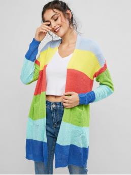 Autumn and Winter Pockets Patchwork and Striped Elastic Full Drop Collarless Long Regular Fashion Daily Cardigans Color Block Rainbow Stripes Longline Cardigan