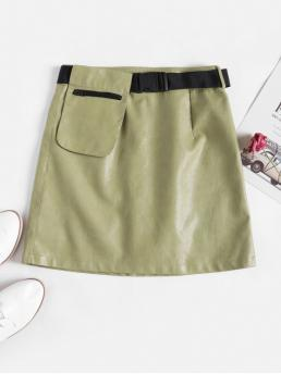 Yes Elastic Fall and Spring and Winter Zipper Pockets and Sashes and Zippers Others A-Line Mini Daily Fashion Buckle Belted Zipper Pocket PU Leather Skirt