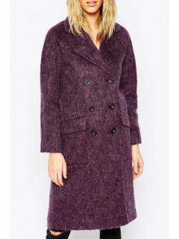 Pattern Solid Lapel Full Wide-waisted Wool Fashion Lapel Double-Breasted Purple Wool Coat