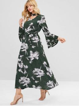 Fall and Spring Yes Floral Long Flare Choker Ankle-Length Casual  Floral Choker Flare Sleeve Maxi Dress