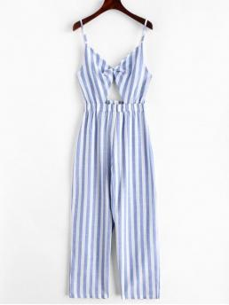 Summer No Cut Striped Nonelastic Sleeveless Spaghetti Normal Regular Fashion Daily and Vacation Stripes Twist Cut Out Wide Leg Jumpsuit
