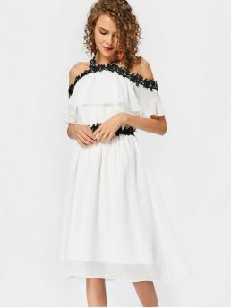 Summer No Others Lace 3/4 Ruffled Knee-Length A-Line Causal and Day and Going Brief Lace Trim Cold Shoulder A Line Dress