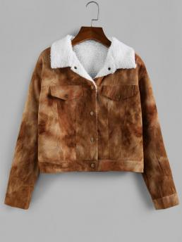 Full Sleeve Wide-waisted Polyester Solid Tie Dye Fleece Lining Jacket Discount