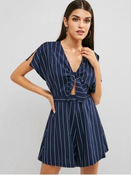 Summer No Cut Striped Short V-Collar Loose Casual Casual and Going Tie Front Striped Wide Leg Romper