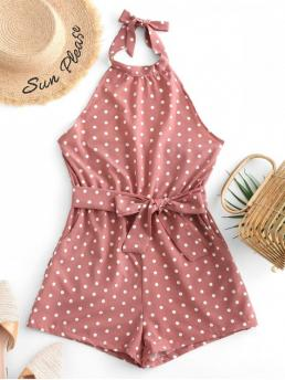 Summer Yes Tie Polka Sleeveless Halter Mini Regular Fashion Daily and Vacation Belted Open Back Knotted Polka Dot Romper