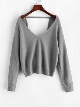 Autumn and Spring and Winter Solid Elastic Full V-Collar Short Regular Fashion Daily Pullovers Pullover Twist Back V Neck Sweater