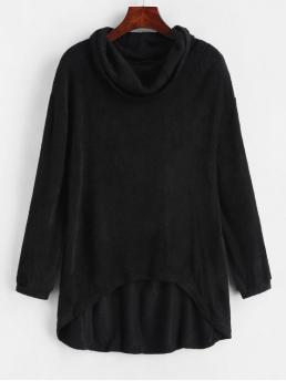 Solid Micro-elastic Full Cowl High Asymmetrical Casual Pullovers Cowl Neck High Low Knitted Top