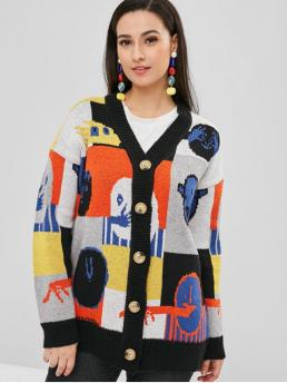 Graphic Nonelastic Full Drop V-Collar Long Loose Casual Cardigans Button Up Graphic Loose Cardigan