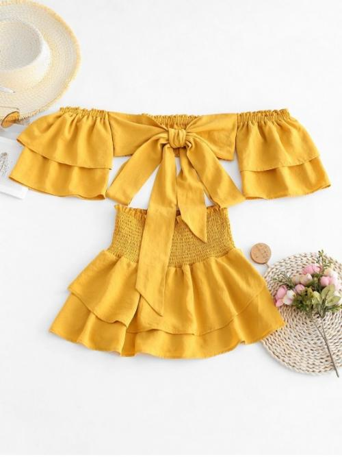 No Summer Layered Solid Flat Elastic High Nonelastic 3/4 Off Regular Fashion Beach Tie Front Off Shoulder Top And Smocked Skorts Set
