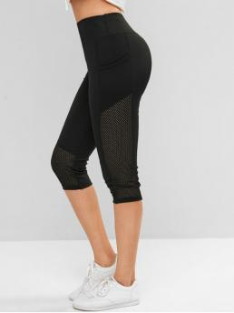 Fall Capri Solid High Daily and Sports Casual Perforated Pockets Solid Capri Leggings