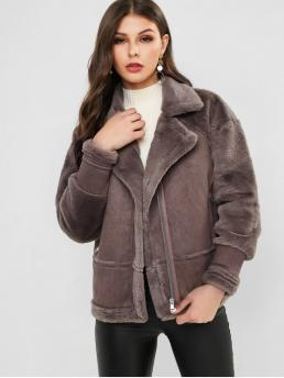 Winter Pockets Solid Zipper Turn-down Drop Full Regular Wide-waisted Fur Daily Fashion Faux Fur Panel Fluffy Zip Pocket Coat