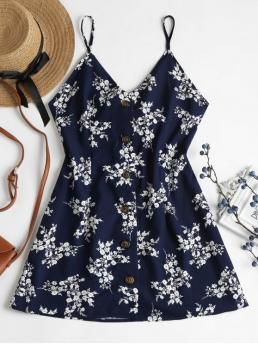 Summer No Floral Bowknot Sleeveless Spaghetti Mini Floral Print Buttoned Cami Dress