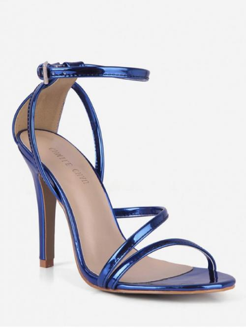PU 10CM Rubber Solid Buckle Stiletto Ankle Party Fashion For Patent Leather Stiletto Heel Sandals