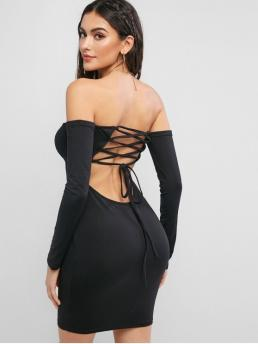 No Fall and Spring Elastic Solid Lace Long Off Mini Bodycon Cocktail Fashion Lace Up Back Off Shoulder Bodycon Dress
