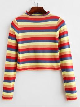 Autumn and Spring and Winter Striped Elastic Full Mock Short Slim Fashion Daily Pullovers Mock Neck Cropped Rainbow Stripes Sweater