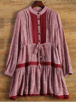 No Fall and Spring and Winter Others Long Stand Mini A-Line Day Vintage Long Sleeve Lace Bib Smock Dress
