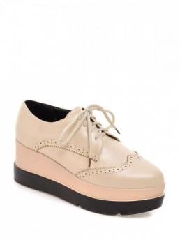 Spring/Fall Microfiber Casual 7CM Wedge Pointed Closed Basic Lace-Up Platform Engraving Wedge Shoes