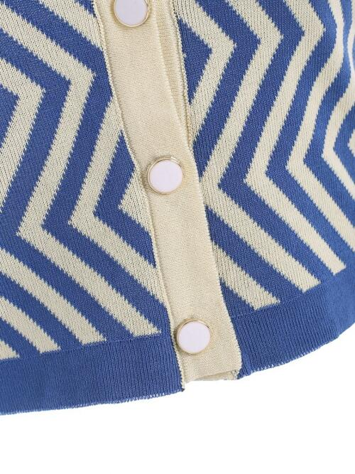 Polyester Zig Zag Blue Cute up Collared Knitted Tank Top Beautiful